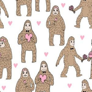 bigfoot valentines day pattern fabric - cute valentines fabric, funny valentines fabric, andrea lauren design -  light pink