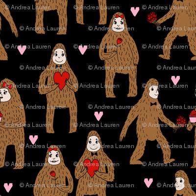 bigfoot valentines day pattern fabric - cute valentines fabric, funny valentines fabric, andrea lauren design -  black