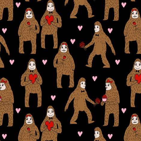 bigfoot valentines day pattern fabric - cute valentines fabric, funny valentines fabric, andrea lauren design -  black fabric by andrea_lauren on Spoonflower - custom fabric