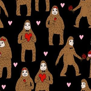 bigfoot valentines day pattern fabric - cute valentines fabric, funny valentines fabric, andrea lauren design -  black