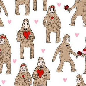 bigfoot valentines day pattern fabric - cute valentines fabric, funny valentines fabric, andrea lauren design - red