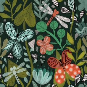 Flowera, butterflies and dragonflies