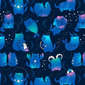 Small Adorable kawaii zodiacs. Cute astrology cats.