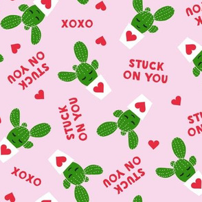 Stuck on you - Cactus Valentines - dark green on light pink C18BS