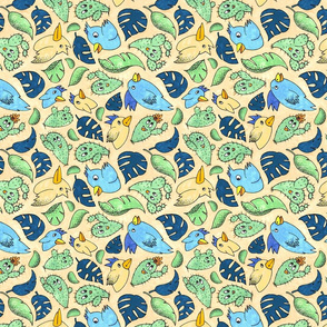 Birds and Plants in Yellow and Blue