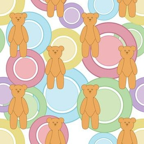 Circles Of Teddy Bears (White)