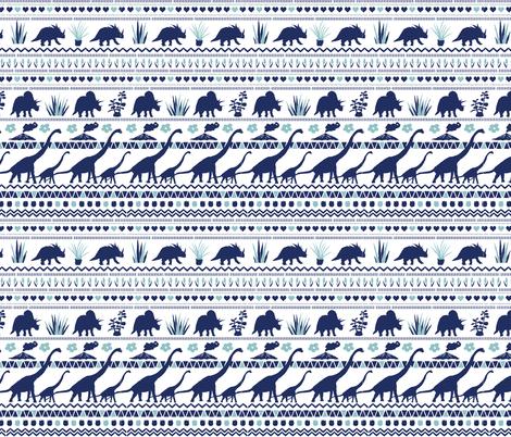 Folk Dino Navy & Light Blue on White fabric by onelittleprintshop on Spoonflower - custom fabric