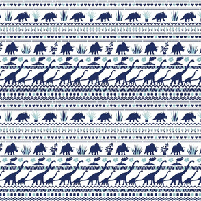 Folk Dino Navy & Light Blue on White