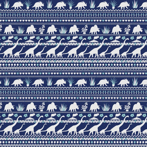 Folk Dino Herd White & Light Blue on Navy