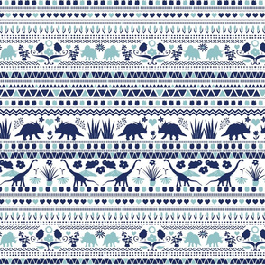 Folk Dino Light Navy & Light Blue on White