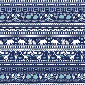 Folk Dino Light Light Blue & White on Navy