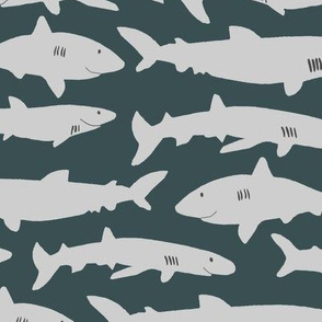 cute little sharks green background