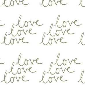 love | Green on White