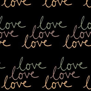 love | Green Pink Yellow on Black