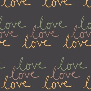 love | Green Pink Yellow on Dark Gray