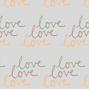 love | Green Pink Yellow on Lightest Gray
