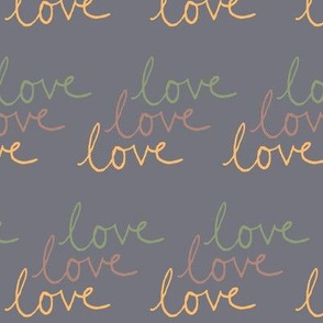 love | Green Pink Yellow on Medium Gray