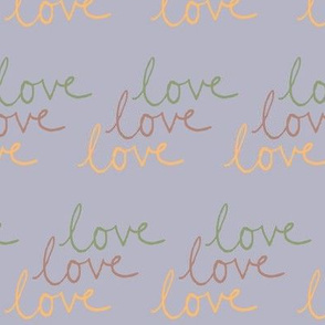 love | Green Pink Yellow on Light Gray