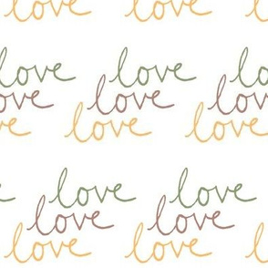 love | Green Pink Yellow on White