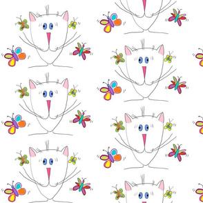 Joyful cat - beautiful and tasty butterflies