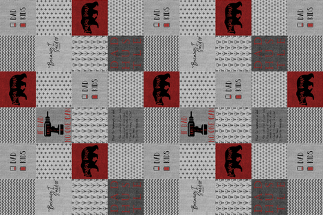 #DadLife Red and Black Recolor rotated fabric by lacklandacres on Spoonflower - custom fabric