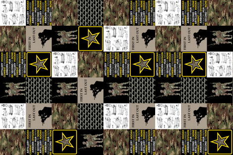 """6"""" Army Faux Quilt Rotated fabric by lacklandacres on Spoonflower - custom fabric"""