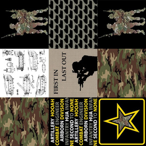 "6"" Army Faux Quilt Rotated"