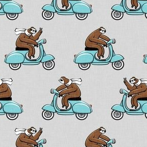 Scooter Sloth - blue on grey