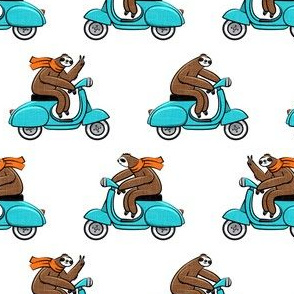 Scooter Sloth - blue with orange scarves