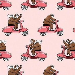 scooter sloth - pink on pink