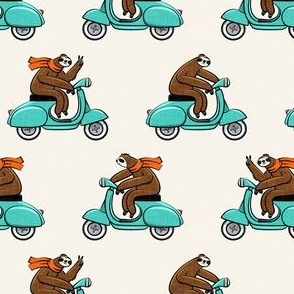 Scooter Sloth - teal with orange scarves