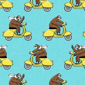 Scooter Sloth - Yellow on Blue