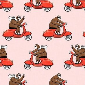 Scooter Sloth - Red on Pink