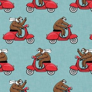 Scooter Sloth - Red on Blue