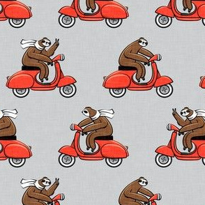 Scooter Sloth - red on grey
