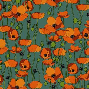 Orange poppy repeat Roman glass - medium