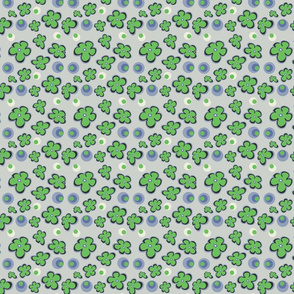 Green clover repeat grey green