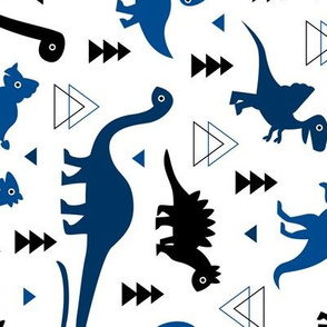 Adorable dino dinosaur fantasy geometric triangles and funky animal illustration theme for kids cobalt blue navy black boys rotated
