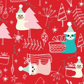 Santa Sloth Red