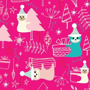 Santa Sloth Pink