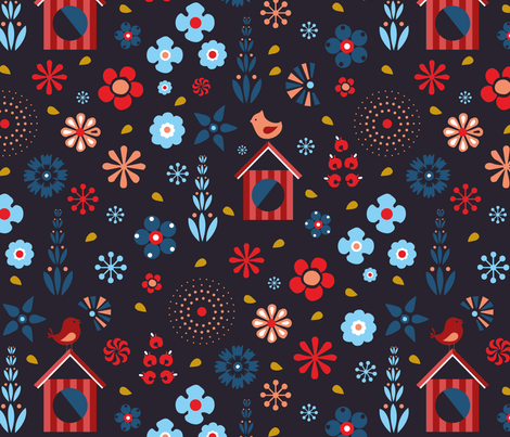Birds in the neighborhood fabric by agathests on Spoonflower - custom fabric