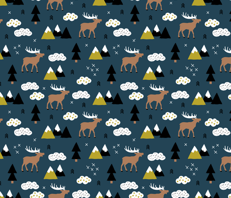 Winter wonderland reindeer adventure clouds and mountains moose design night copper blue boys fabric by littlesmilemakers on Spoonflower - custom fabric