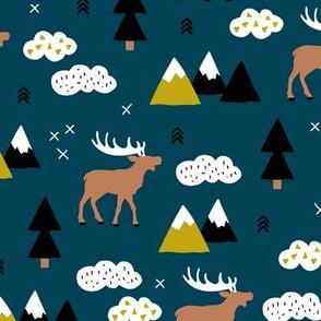 Winter wonderland reindeer adventure clouds and mountains moose design night copper blue boys