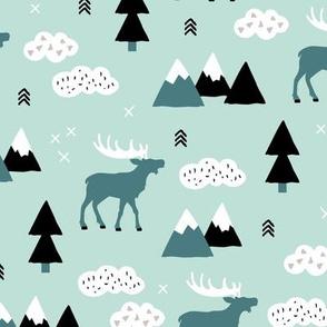 Winter wonderland reindeer adventure clouds and mountains moose design mint green boys