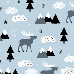 Winter wonderland reindeer adventure clouds and mountains moose design cold blue boys