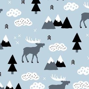 Winter wonderland reindeer adventure clouds and mountains moose design cold blue boys