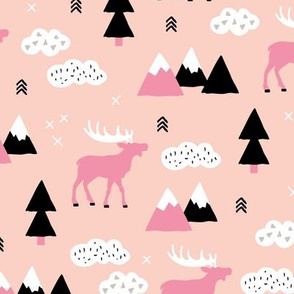 Winter wonderland reindeer adventure clouds and mountains moose design soft peach pink girls