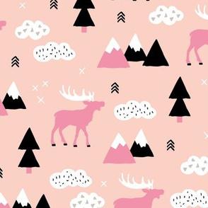 Winter wonderland reindeer adventure clouds and mountains moose design soft peach pink girls