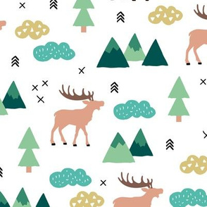 Little camping trip moose mountains and pine tree forest deer design green boys gender neutral