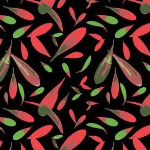 Flower Petals on Black Background-Flowers in Bloom, repeat pattern